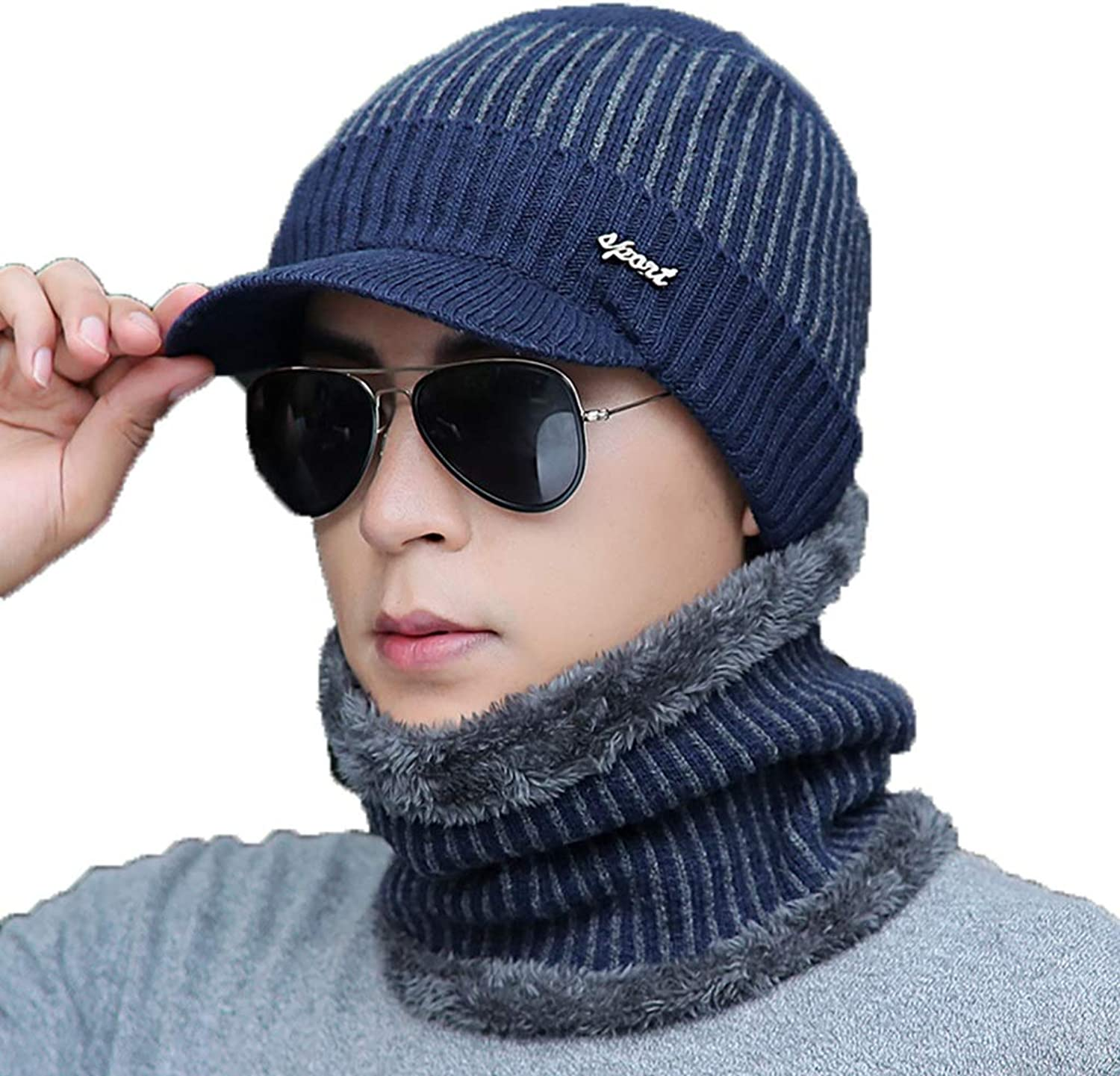 Hat, Men Winter Youth Motion Hedging Cap Outdoor Keep Warm Knitted Hat (Set of 3) (color   C)