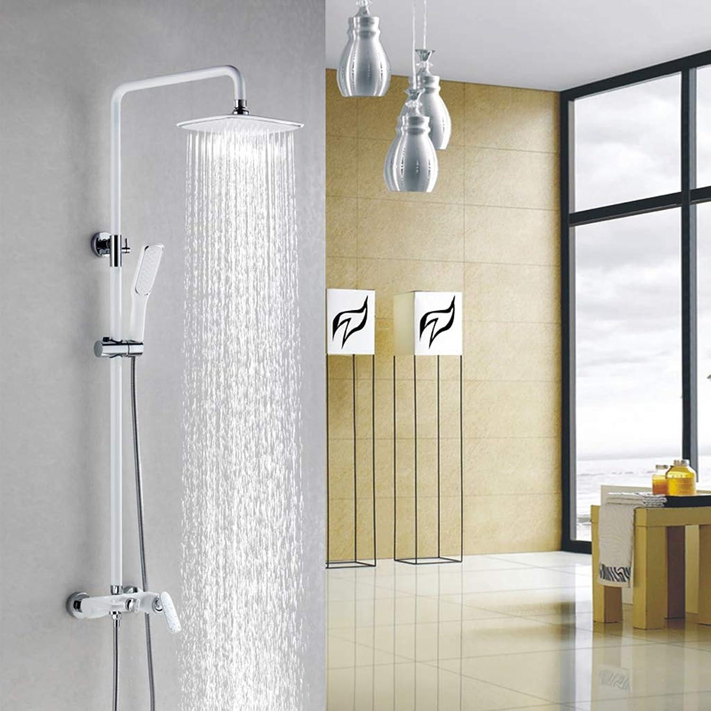 Duschset Brausegarnitur, Kupfer-Wasserhahn-Düsendüse, Boost-Lack wei