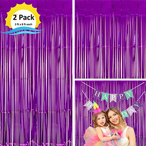 Moohome 2 Pack 3ft x 8ft Purple Foil Curtains Metallic Tinsel Fringe Curtains Shimmer Door Window Curtain Backdrop for Birthday Wedding Bridal Shower Baby Shower Photo Booth Party Decorations