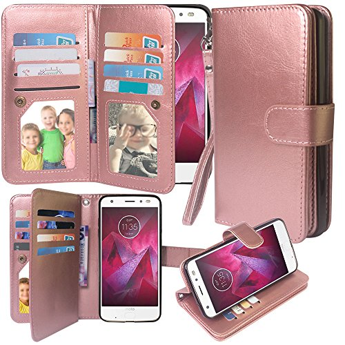 Moto Z2 Force Case, Harryshell Luxury 12 Card Slots Shockproof Kickstand PU Leather Wallet Flip Protective Case Cover with Wrist Strap for Motorola Moto Z2 Force Edition (Rose Gold)