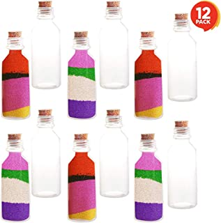 ArtCreativity Plastic Sand Art Bottles with Corks - Pack of 12 - 2oz Clear Containers for Sand Art, Message in a Bottle, Wedding Invitations, Fun Arts and Crafts Supplies for Kids - Sand not Included