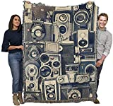 Vintage Cameras - Thomas Brown - Cotton Woven Blanket Throw - Made in The USA (72x54)