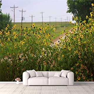 Modern 3D PVC Design Removable Wallpaper for Bedroom Living Room Wildflowers Add Color to an Iowa Country Road Wallpaper S...
