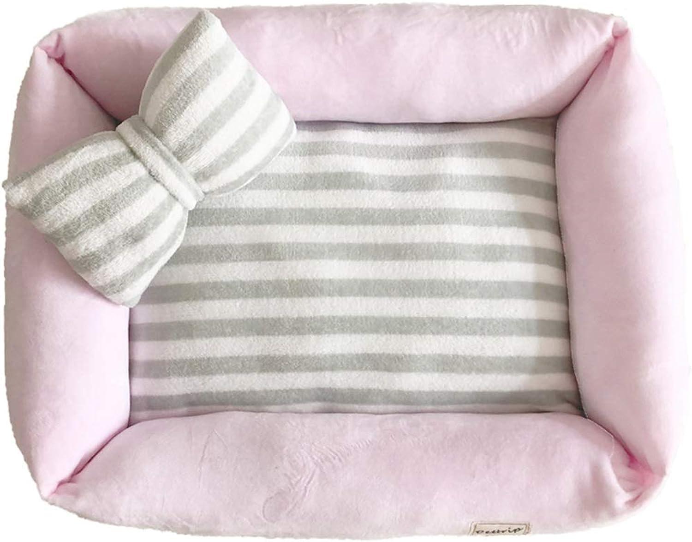 Pet Mat, Large Dog Kennel Cat House Removable and Washable Pet Nest WearResistant Bite Pet Bed Pet Supplies (color   Pink, Size   50×40cm)