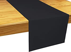The Luxe Collection Pure Cotton Cloth Table Runner 14X72 Inch Black