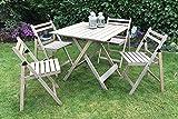 Damiware Bistro - Juego de muebles de jardín, 5piezas, de madera de haya, 4 sillas, 1 mesa...