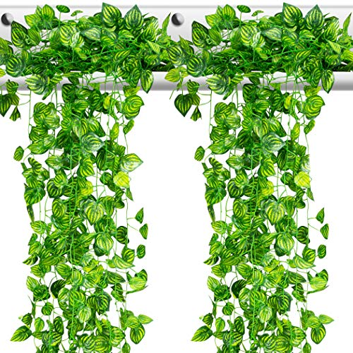 10 Strands [Watermelon Design Leaves] Artificial Vine Leaves, Fake Greenery, Hanging Garland, Decorative Green Foliage Home Office Wall Décor Garden Wedding Decoration 70 Ft. Nontoxic