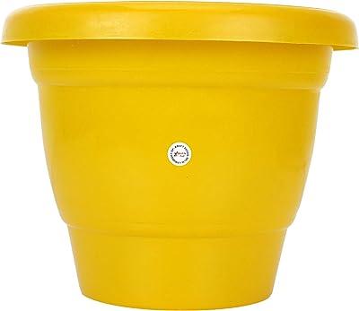 Kraft Seeds Plastic Planter Bottom Plate - Yellow, 18cm, Set of 2
