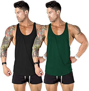 nine bull Men's Gym Workout Tank Top Muscle Stringer Bodybuilding Fitness T-Shirts Tops, 2 Pack