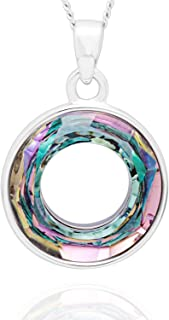 The One Necklace Pendants with Aurora Borealis Circle...