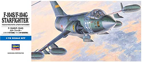 Hasegawa 1/72 Scale F-104S / F-104G Star Fighter, D Series Italian Air Force Fighter/Luftwaffe Fighter Bomber Aircraft Model Kit # 00447