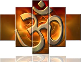 Multi Panel Wall Art Aum Sanskrit Paintings on Canvas Hinduism Symbol Pictures for Living Room Premium Quality Indian Artwork Modern House Decor Framed Ready to Hang Posters and Prints(60''Wx40''H)