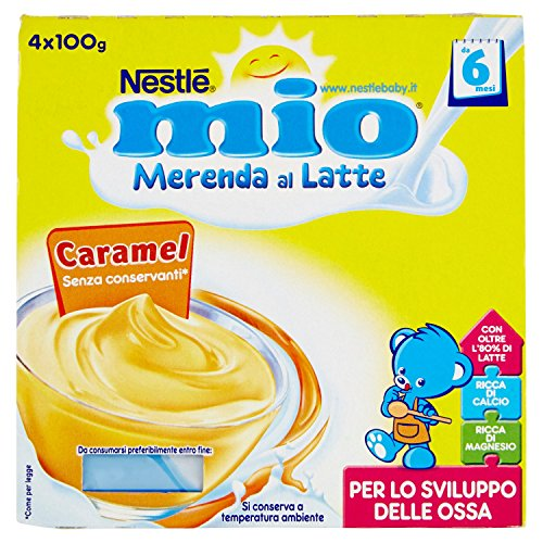 Nestlé Mio Merenda al Latte Caramel senza Glutine da 6 Mesi 4 Vasetti Plastica da 100g