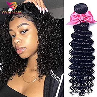 OYM Hair 10A Grade Brazilian Virgin Deep Wave Hair 4Bundles 100% Unprocessed Brazilian Deep Hair Weave Extensions Natural Color Mixed Length8 10 12 14inch