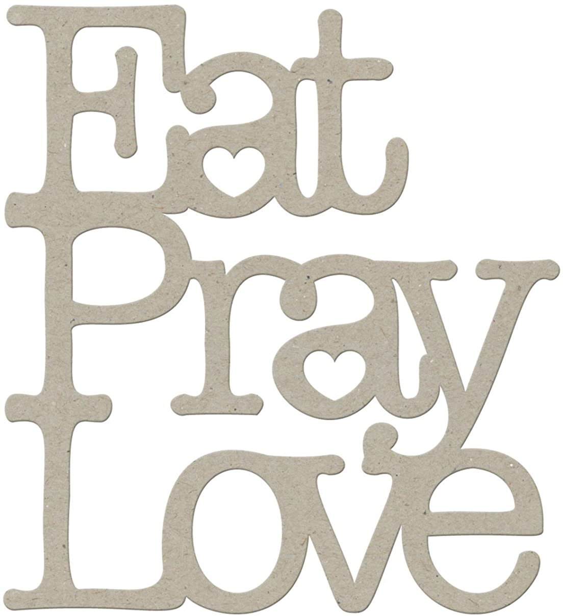 FabScraps Die-Cut Grey Chipboard Word, Eat Pray Love, 3-1/4 by 3-Inch