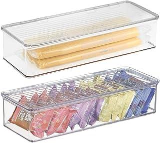 mDesign Juego de 2 cajas apilables – Prácticas cajas de plástico con tapa – Organizadores de cocina con tapa para nevera y frigorífico – Contenedores de plástico para alimentos – transparente