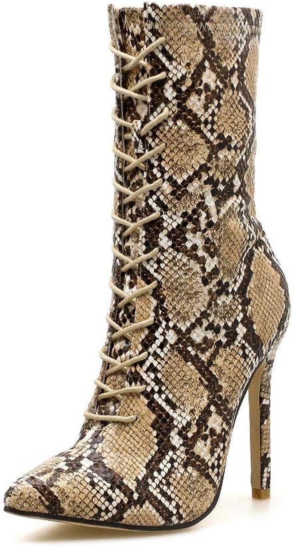 Olprkgdg Damenstiefeletten mit hohem Absatz und Schlangenaufdruck mit mit mit spitzem Kopf (Farbe   Snake, Größe   39)  80f9f9