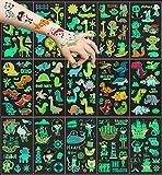 15 hojas Tatuajes Temporales para niños, 150 patrón luminoso Tatuajes temporales Falso Pegatinas, Dinosaurio Animal Pirata Tatuaje regalo de decor fiesta para niños y niñas