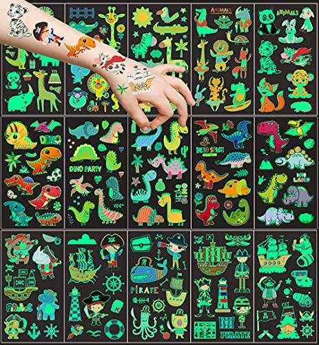 15 hojas Tatuajes Temporales para nios, 150 patrn luminoso Tatuajes temporales Falso Pegatinas, Dinosaurio Animal Pirata Tatuaje regalo de decor fiesta para nios y nias