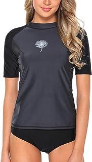 V FOR CITY Women's Short Sleeve Rashguard Athletic UPF 50+ Printed Swimsuits Rash Guard Swimwear UV Bathing Suit