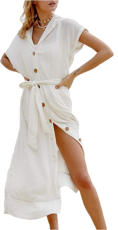 Wander Agio Womens Bikini Cover Ups Beach Casual Dress Coverup Swimsuits Long Cardigan Button Black