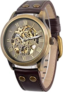 Mens Retro Bronze Tone Skeleton Dial Automatic Mechanical Watch Brown Leather Strap Wrist Watches for Man