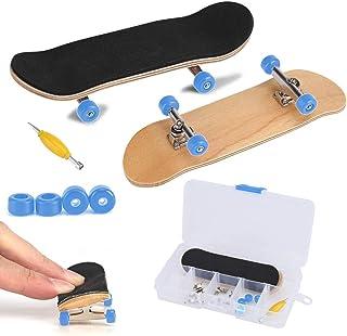 Fingerboard Finger Skateboards, Mini diapasón, Patineta de dedos profesional para Tech Deck Maple Wood DIY Assembly Skate Boarding Toy Juegos de deportes Kids Christmas Gift(Azul oscuro)