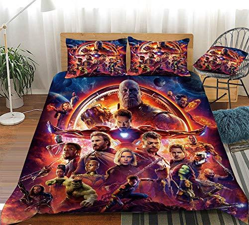 KIrSv The Avengers 3D Print Pattern Funda nórdica Funda de Almohada, Familiares y Amigos, Decora el Dormitorio, el apartamento, la Mejor Ropa de cama-13-200x200cm (3 Piezas)