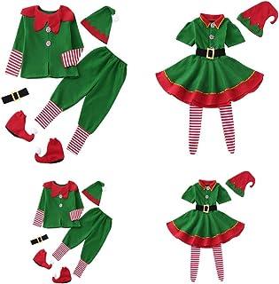 4pcs Pijamas Familiares Navidad Disfraz, Pijama Navidad Familia de Manga Larga Conjunto de Mujer Hombre Bebe, Traje de Navidad Elfo Invierno