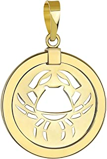 14K Yellow Gold Reversible Round Cancer Crab Zodiac Sign Pendant