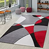 TT Home Alfombra Diseño Moderna Estampado Geométrico Contorneada Rojo Negro Gris, Größe:60x110 cm
