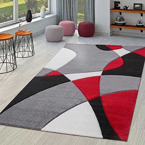 TT Home Tappeto di Design Moderno con Motivo Geometrico dal Taglio Sagomato in Rosso, Nero e Grigio, Größe:120x170 cm