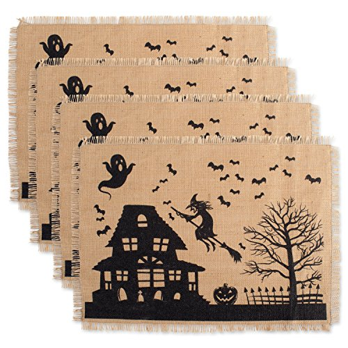 DII JuteBurlap Placemat Set of 4 Haunted House - Perfect for Halloween Dinner Parties and Scary Movie Nights