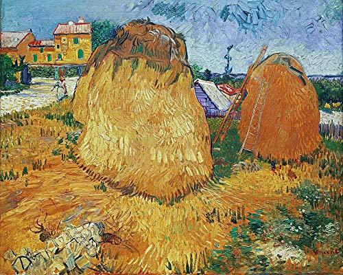 Van Gogh - Haystacks En Provence Reproducción Cuadro sobre Lienzo Enrollado 60X50 cm - Paisaje Pinturas Impresións Decoración Muro