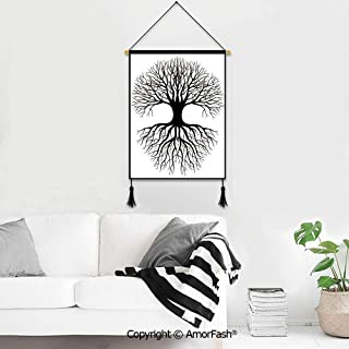 Poster Frames Hanger,Tree of Life for Photo Picture Canvas Artwork Art Print Wall Hanging Plant Silhouette Roots and Branches Reflection Shadow Monochrome Illustration