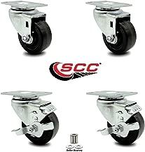 Phenolic Swivel Top Plate Caster Set of 4 w/Roller Bearing - 3.5