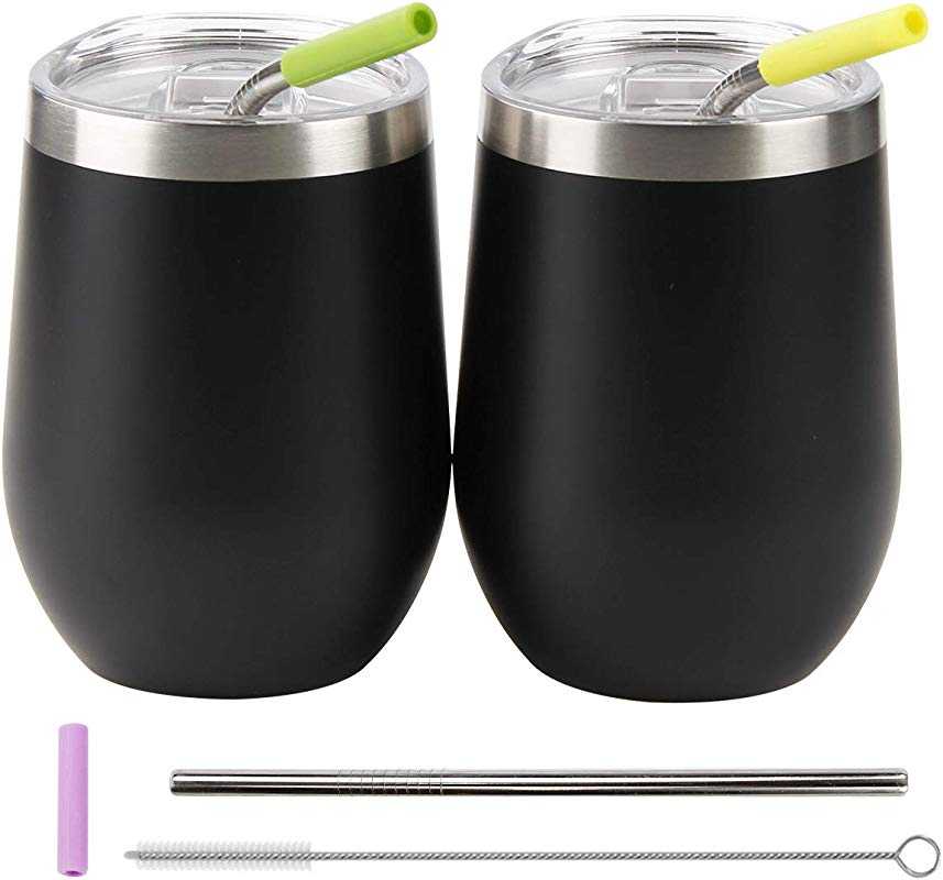 12 Oz Wine Tumbler With Lid And Straws 2 Pack Double Wall Vacuum Insulated Stainless Steel Wine Cup For Wine Coffee Ice Cream Cocktails Champagne Black