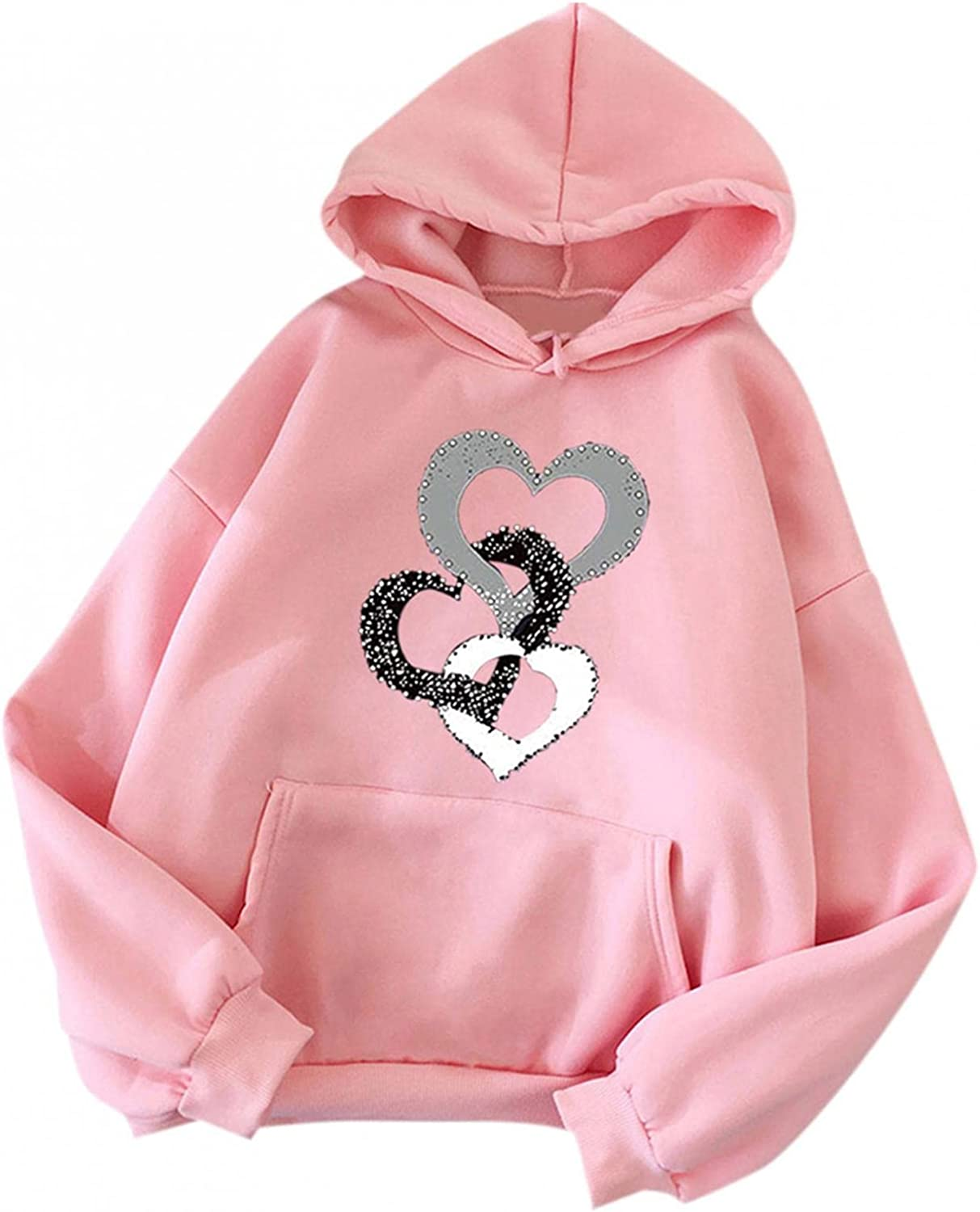 UOCUFY Womens Hoodies, Womens Casual Plus Size Sweatshirts Cute Printing Long Sleeve Pullover Hoodies Autumn and Winter
