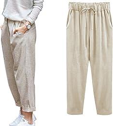 Femme Été Décontractée Coton Lin Ample Pantalon Lé