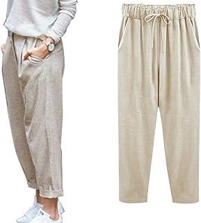 c5b7fa7659 Minetom Pantacourt Femme Été Causal Coton Lin Ample Pantalon Fluide  Confortable 7/8 Longueur Léger