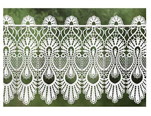 Plauener Spitze Scheibengardine Makramee im Landhausstil 32 cm hoch x 50 cm breit weiß