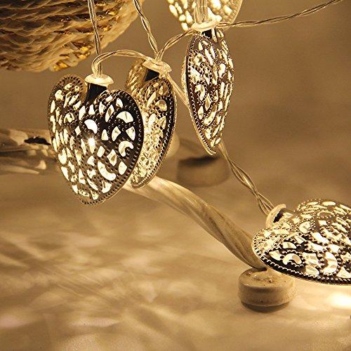 FeiliandaJJ Lichterkette, 10led Metall Herz geformt LED Licht für Garten Hochzeit Party Schlafzimmer Innen/Außen Haus Deko String Lights (Silber)