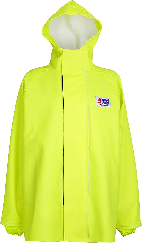 Stormline 248 Durable PVC Commercial Rain Gear Jacket for Construction, Fishing, Farming, Workwear- Blue or Yellow (Yellow, Medium)