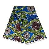 Afrikanischer Stoff, blaue grüne Punkte, Wachstuch –