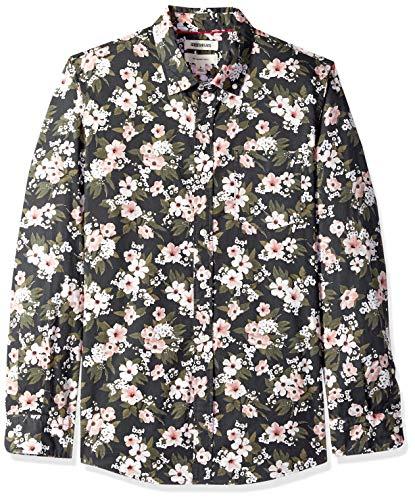 Goodthreads Men's Slim-Fit Long-Sleeve Printed Poplin Shirt, Black Wallpaper Floral, Large