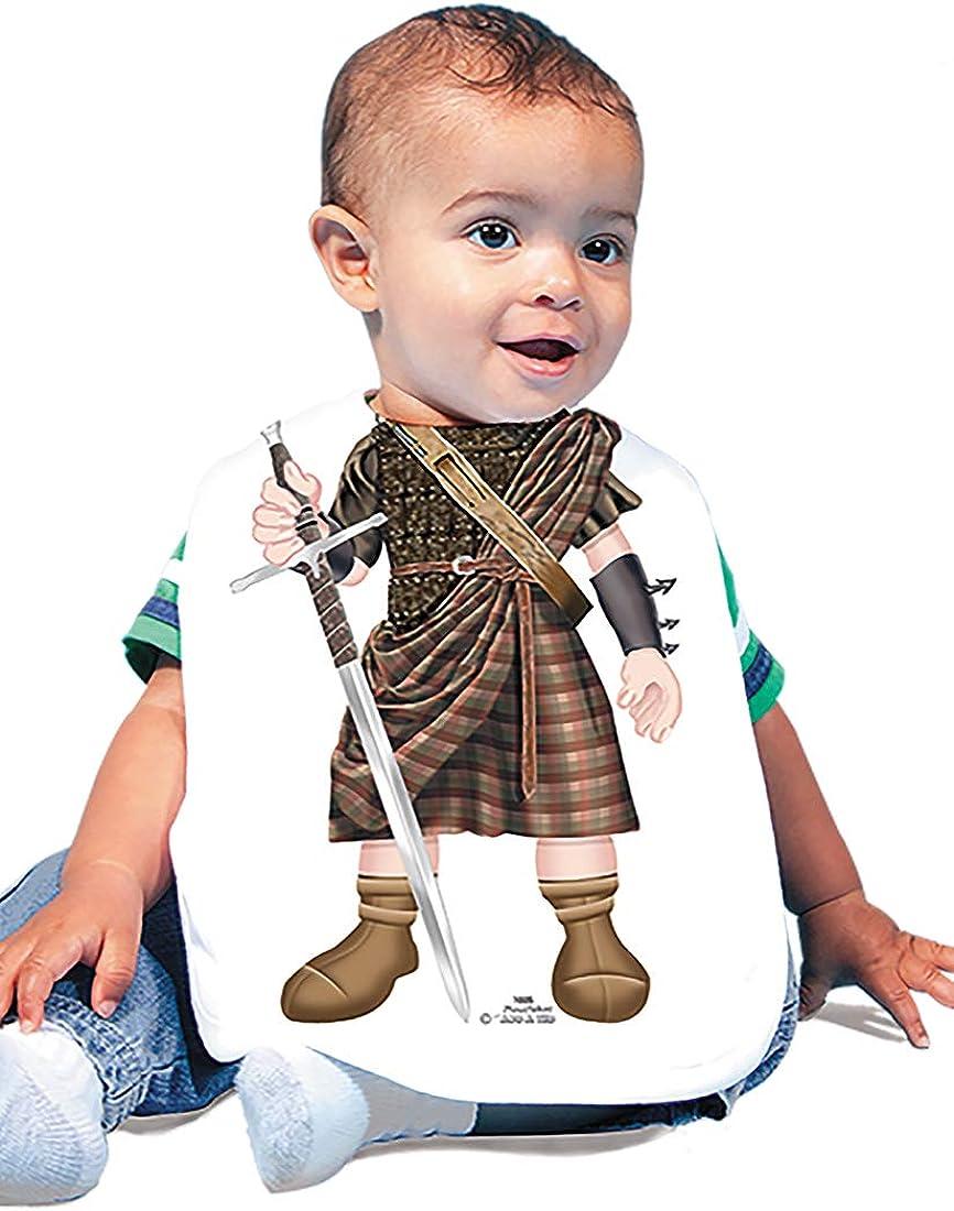 Just Add A Kid 1005 Scottish Warrior Baby Oversize Bib 0-18 Months White
