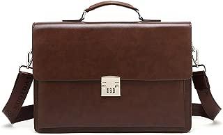 Mioy Vintage Men's Leather Briefcase Classic Shoulder Messenger Bag 14 inch Laptop Bag Tote Business Work bag With Code-Lock (Brown)