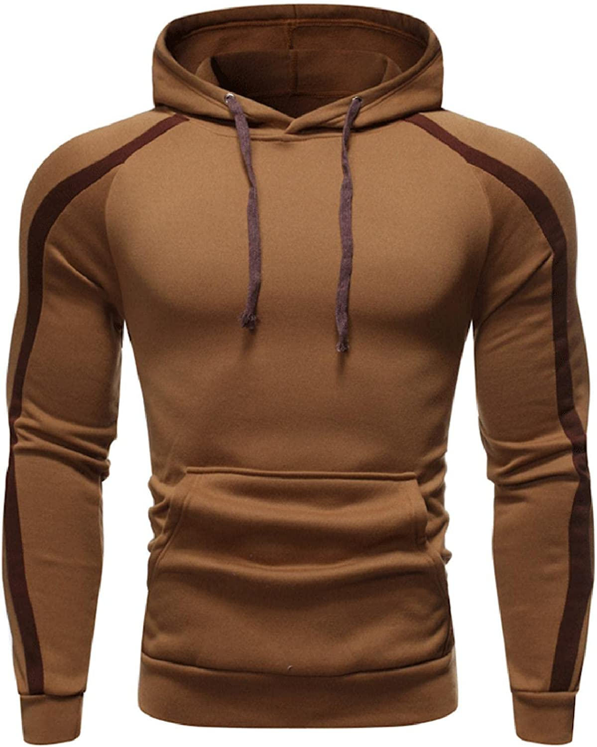 Huangse Long Sleeve Hoodie for Men Solid Color Pullover with Pockets Autumn Casual Sweatshirt for Sports Joggers