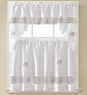 B&H Home Sydney Floral Embroidered 3-Piece Kitchen Curtain Window Treatment Set (Sydney White)