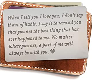 Engraved Wallet Inserts, Permanent Etching Engraving, Anniversary Gifts for Men, Husband Gifts, Boyfriend Gifts